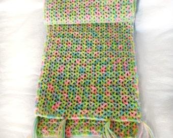 Colorful Rainbow crochet stole