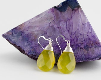 Lime Jade Earrings, Korean Yellow Jade Earrings, Neon Yellow Earrings, Yellow Drop Earrings, Yellow Gemstone Earrings, Jade Drop Earrings