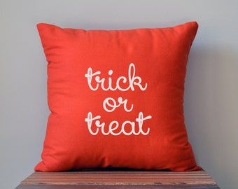 Halloween Pillow Cover, Halloween Decor, Trick or Treat, Halloween Decorations, 16 x 16 Pillow Cover
