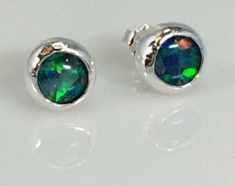 Opal Mosaic Sterling Silver Post Earrings