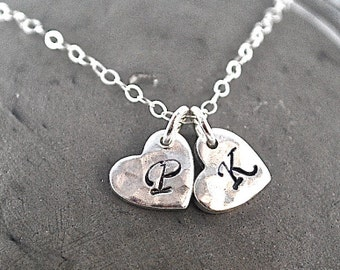 Little hearts 925 silver necklace Everyday Necklace Hand Stamped Lovers couple's Necklace Monogram Charm Personalized Jewelry initial heart