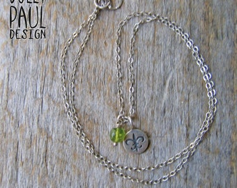 Fleur-de-lis, Peridot Necklace, Charleston, Faceted Peridot Bead, Simply Southern, Southern, Minimal Necklace, Delicate Jewelry, Silver