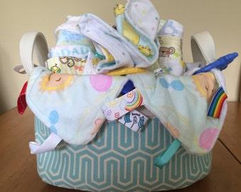 Deluxe Gift Basket - teal basket