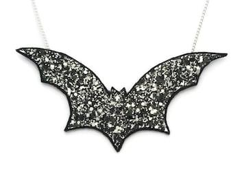 Bat Halloween Glitter Necklace