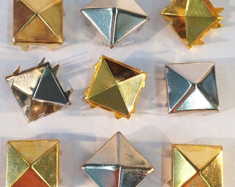 """Gold and Silver toned Pyramid Metal Studs, 8 prong, 1/2"""" square (12mm). 200 per bag. Selling in 2 bags (one gold, one silver) lots."""
