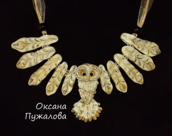 glass flying owl necklace/pendant with spread wings