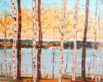Impressionist landscape birch trees oil painting