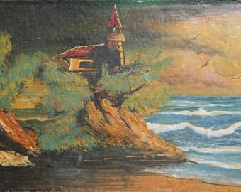 Landscape seascape vintage oil painting