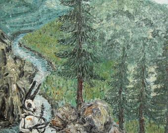 Vintage forest landscape oil painting impressionism