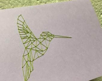 Hand Sewn Geo Hummingbird Card