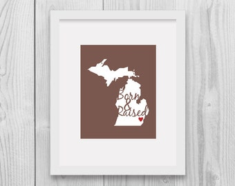 Michigan State Map Art Michigan Map Us State Home Decor Born And Raised