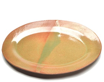 Brown and Green Ceramic Platter Serving Tray