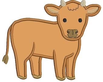 Steer Applique, Cow Design, Cow Applique, Cow Embroidery, Cute Black and White Cow Applique, Farm Applique, Farm Design