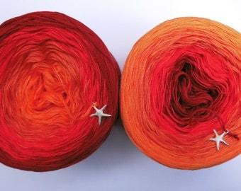 "Color gradient yarn 200 g = 760 m lacegarn ""Phoenix"""