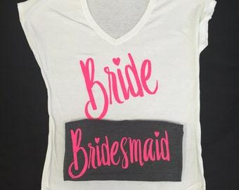 Bride and Bridal Party Set of 8 Custom Shirts, Bride Shirt, Bridal Party Shirt, Bridal Party, Bacherlorette Party Shirts, Bridal Party Tops