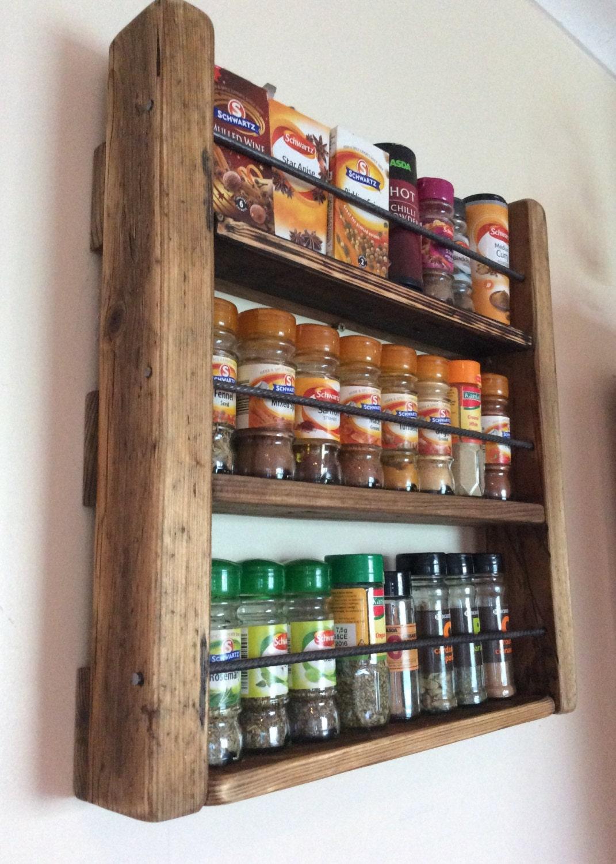 spice rack handmade kitchen storage rustic by