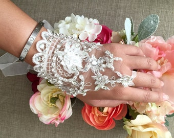 Beaded wedding bracelet ribbon cuff lace applique