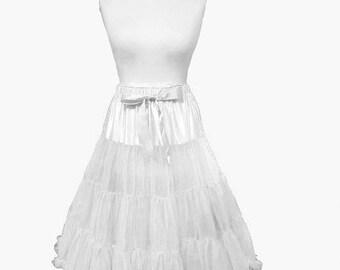 ON SALE Elizabeth Stone 50's Rockabilly White Underskirt Petticoat 26 Inch