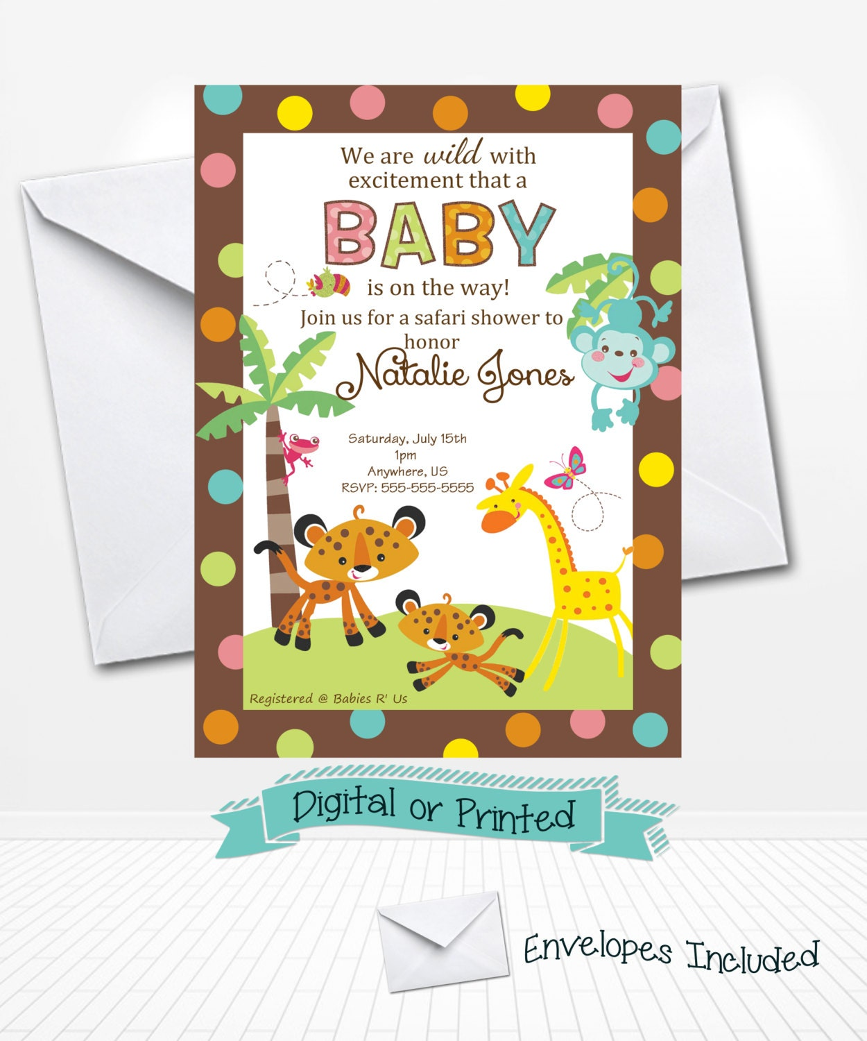 fisher price monkey baby shower invitations printed by andabloshop