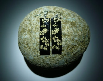 Japanese washi paper earrings(rectangle shape with black and gold flower)