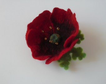 Felted Brooch/Red Poppy With Green Leaves/Felted Flower From Wool And Silk/Ready To Ship/Gift Needle Felted Wool Jewelry/Eco Friendly