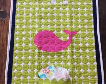 Quilted Whale Baby changing pad clutch (pink)