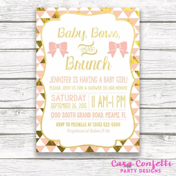 baby shower brunch invitation baby bows and brunch peach and, Baby shower invitations