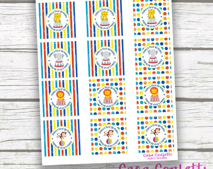 "Personalized Circus Carnival Birthday Party Baby Shower Printable 2"" Circle Favor Tags Labels, Primary Colors, Boy Girl, First 1st Birthday"
