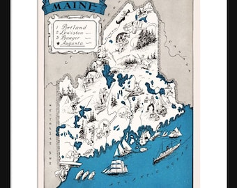 Maine Map - Map of Maine - State Map - Vintage Map - Poster - Print - Pictorial - Cartoon Map