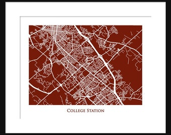 College Station Map - Map of College Station Texas - Texas A&M University - Print - Poster - Aggies