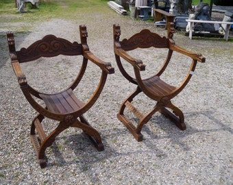 Matching Pair Antique Oak Saddle Arm Chairs 1920s #2318