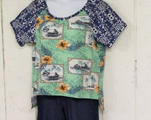 Women's Large Hawaiian Print Refashioned Raglan Sleeve Shirt Hi Lo Hem Recycled Fabric Shirt Navy Blue and Green Fun Casual Wear Blouse Cute