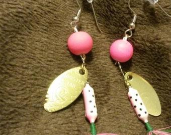Gold leaf fishing earrings