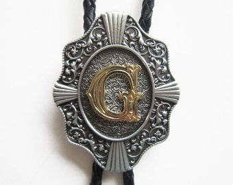 """Initial Letter """"G"""" Western Cowboy Rodeo Bolo Tie"""