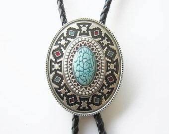Native American Southwest Patterns Oval Bolo Tie