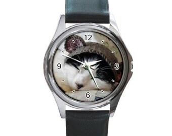 I taut I tau a puddy tat Squeak kitty   Round Metal Watch