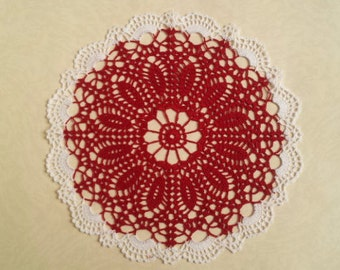 Crochet Christmas Round Doily Christmas home decors Red and White Centerpiece Home decor table decor made in Lithuania