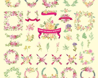 Watercolor Flower Clipart, Shabby Chic Clipart Flower Watercolor Clipart Clip Art Vector EPS AI PNG Design Elements Digital Instant Download