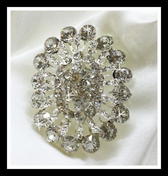 4 X Oval Rhinestone Brooch/ Swarovski Brooch/ Bridal Brooch/ Bridal Bouquet Brooch #0170
