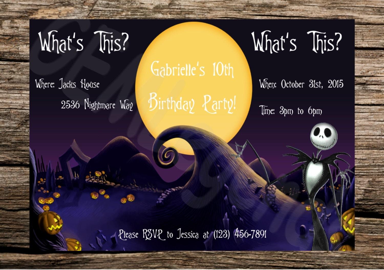Halloween invitation – Nightmare Before Christmas Birthday Invitations
