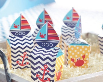 Nautical Party Favors, Sailing Party, Beach Party, Favor Boxes, Nautical Baby Shower, Ahoy, Gift Box, Ahoy its a Boy, First Birthday