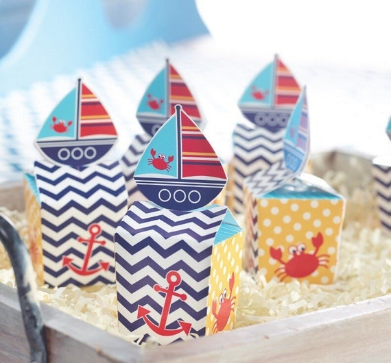 favor boxes, nautical, party favors, beach wedding favors, Baby shower invitation