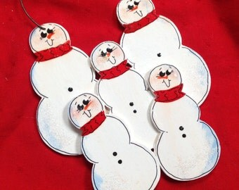 Personalized Snowmen Family of 5 Ornament! Handpainted!