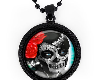 Jet Black Day of the Dead Sugar Skull Girl Glass Pendant Necklace 62-JBRN