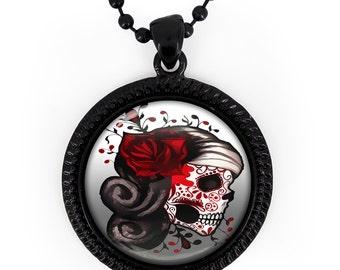 Jet Black Day of the Dead Sugar Skull Girl Glass Pendant Necklace 73-JBRN