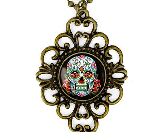 Antique Bronze Day of the Dead Sugar Skull Glass Filigree Pendant Necklace 55-BFN