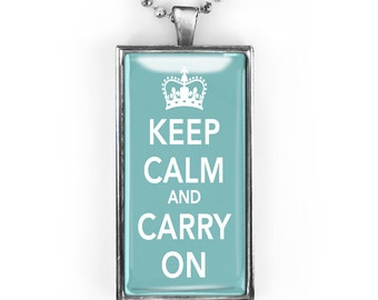 """Silver Vintage WWII """"Keep Calm and Carry On"""" Rectangle Glass Retro Pendant Necklace 290-SRCN"""