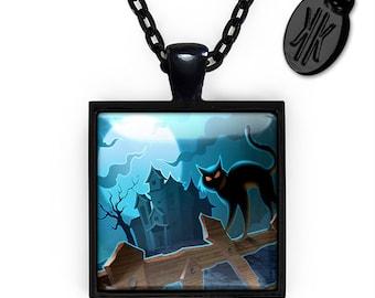 Gothic Haunted Halloween Black Cat and Scarecrow Jet Black Glass Pendant Necklace 302-JBSPN