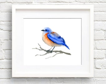 Bluebird Art Print - Wall Decor - Watercolor Painting