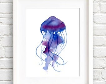 Purple Jellyfish Art Print - Wall Decor - Watercolor Painting